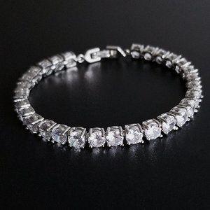 NEW 18K White Gold Plated Round Diamond Bracelet